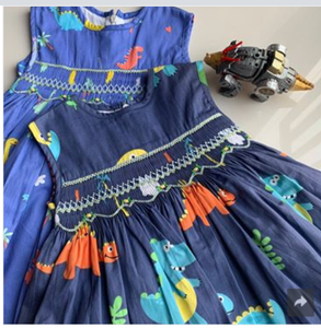 Dino Dress with Embroidered Flowers