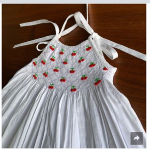 Smocked Dress With Embroidered Cherries Lined With Hand-Crocheted With Lace