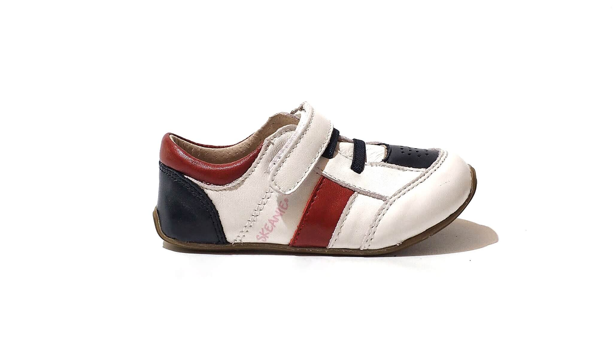 Skeanie Trainers | White-Navy-Red