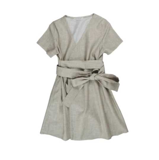 Grirls Wrapped Linen Dress | Beige