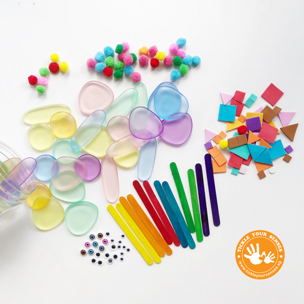 Junior Rainbow Pebbles | Translucent |+ Bonus! Loose Parts Pack