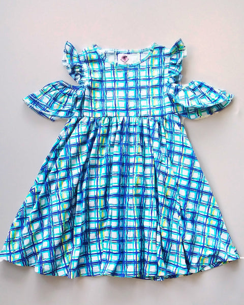 Check Peep Dress-Aqua