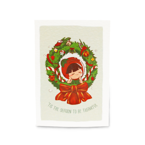 Ang Ku Kueh Girl Christmas Card: Tis The Season To Be Thankful
