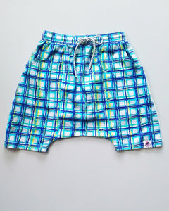 Check Drop Crotch Shorts-Aqua