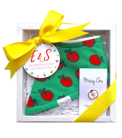 Red Apple Mini Foodie Box (Red Apple Bib + Apple Pin)