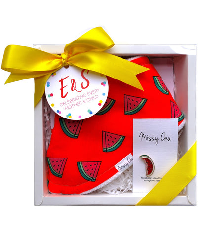 Watermelon Mini Foodie Box (Watermelon Bib + Watermelon Pin)