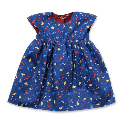 Babydoll Reversible Dress | Dinorawr (Navy)