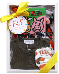 Baby Playtime Box - Gender Neutral (Jamie Kay Romper Olive + Farm Cotton Tails + Sushi Mittens)