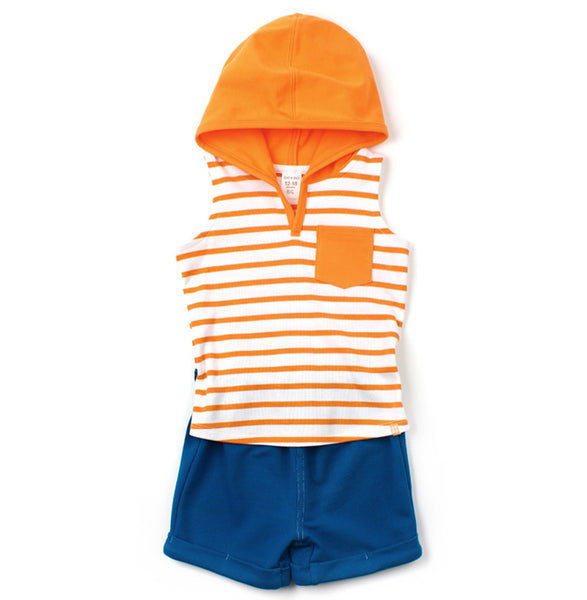 Hoodie Tank Romper Shorts | Orange