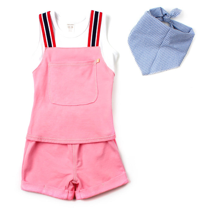 Unisex Overall Romper Shorts | Pink