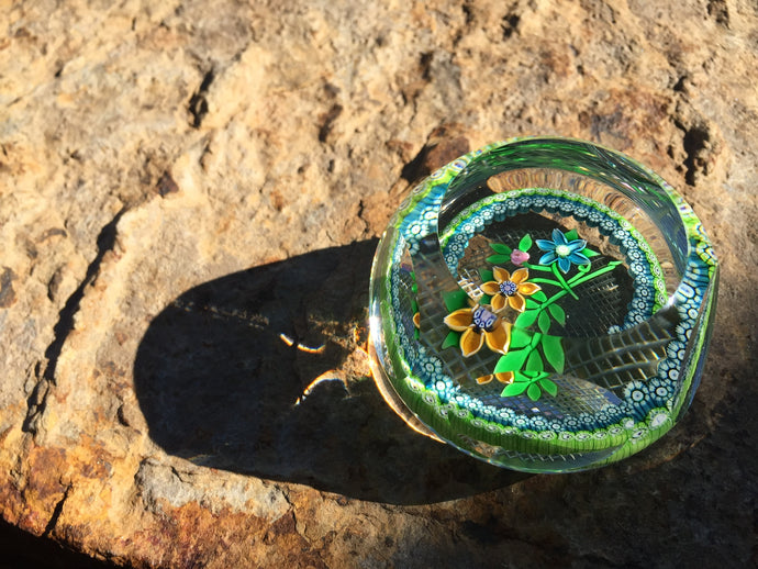 Millefiori Garland Faceted Floral Paperweight