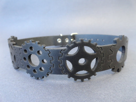 Leather Choker with Gears
