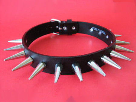 Leather Choker with Rounded Long Cone spikes
