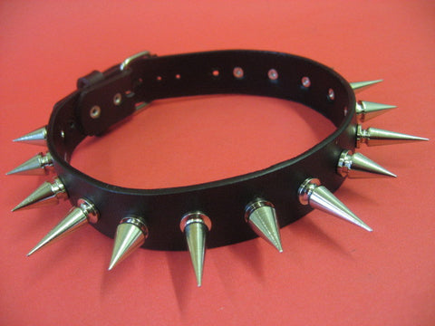 Leather Choker with Long Cone Spikes