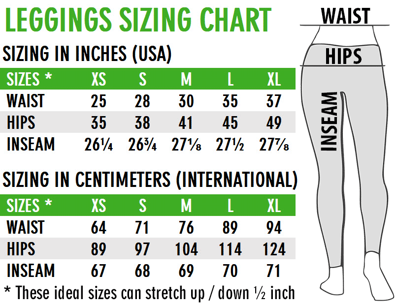 LegZen Leggings Sizing Chart