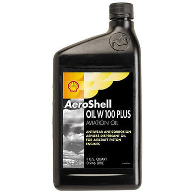 AeroShell Oil W100 Plus Single Grade Aviation Oil - Case of 12 (1 Qt)