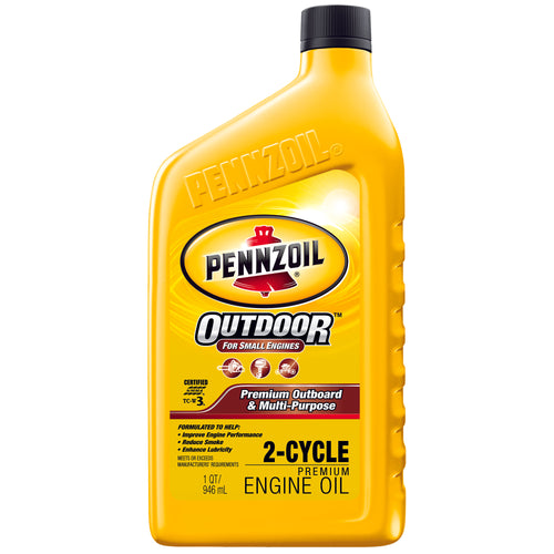 Pennzoil Marine Premium Plus Outboard 2-Cycle Marine Engine Oil - Case of 12 (1 qt)