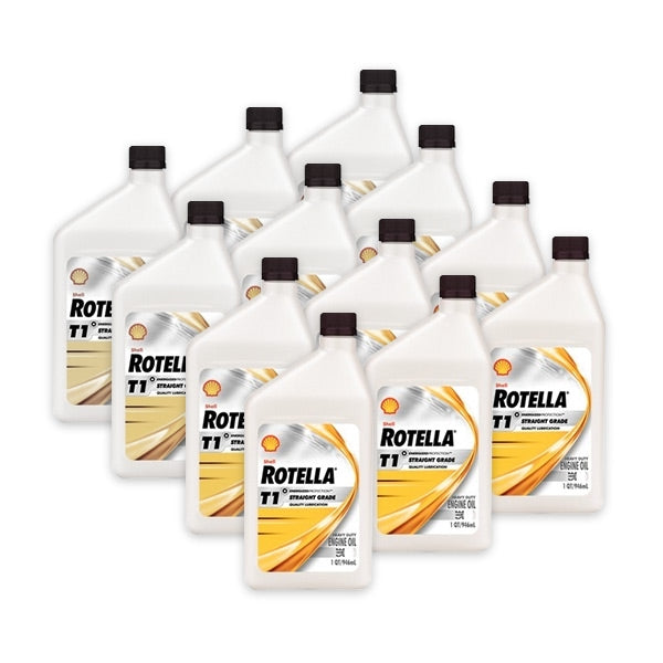 Shell Rotella T1 30 Heavy Duty Engine Oil (CF/CF-2) - Case of 12 (1 qt)