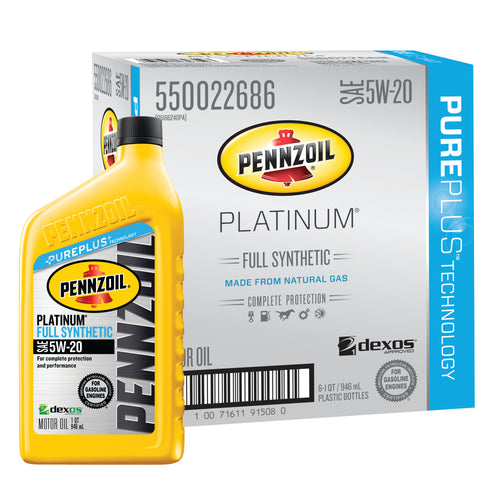 Pennzoil Platinum SAE 5W-20 Full Synthetic Motor Oil - Case of 6 (1 qt)