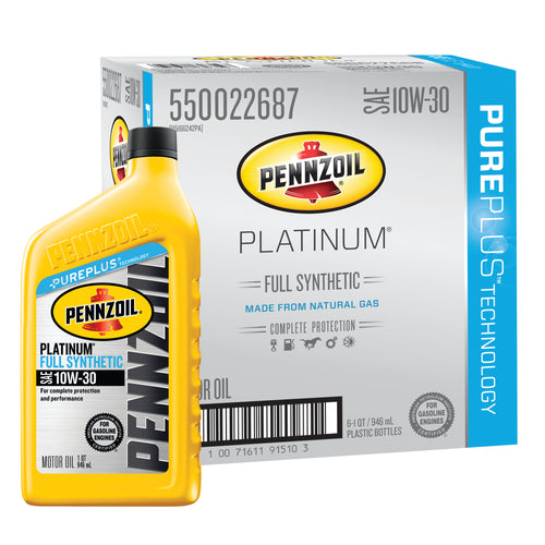 Pennzoil Platinum SAE 10W-30 Full Synthetic Motor Oil - Case of 6 (1 qt)