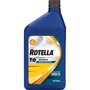 Shell Rotella T6 5W-40 (CJ-4) Full Synthetic Heavy Duty Engine Oil - Case of 24 (1 qt)