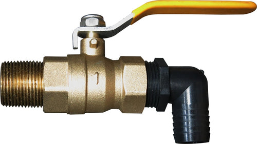 1in. Brass Ball Valve Assembly, 1in. with Barb Fitting & 1in. Brass Nipple