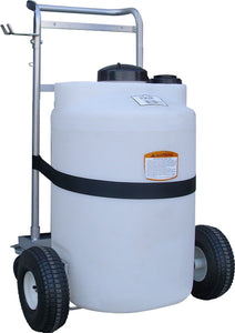 Cylindrical Tank, 25 Gallon on Steel Cart with Casters