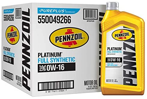 Pennzoil Platinum SAE 0W-16 Full Synthetic Motor Oil - Case of 6 (1 qt)