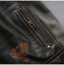 Biker Leather Jacket - Genuine Leather