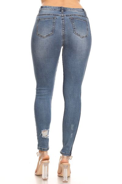 Contrast Ankle Jeans- Butt Lift