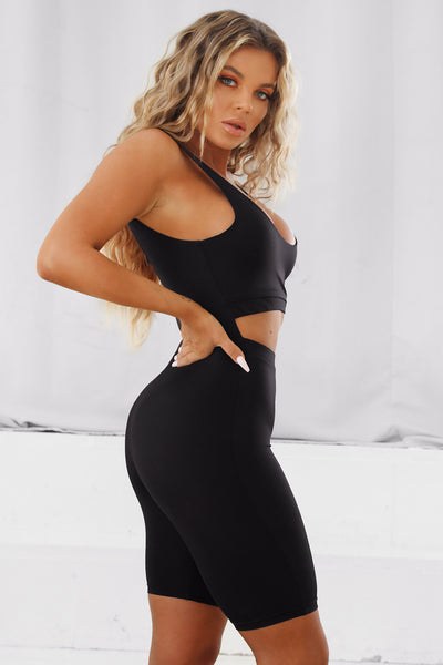 Francesca Cut Out Romper Black