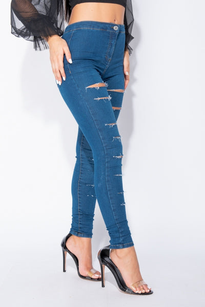 Dest High Waist Jeans - Blue