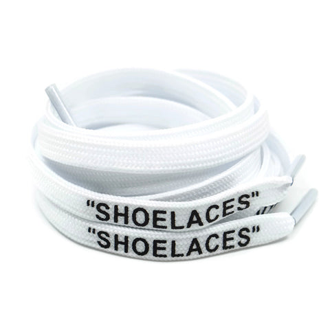 """SHOELACES"" Off White Inspired Flat Laces - White"