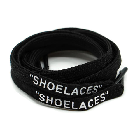 """SHOELACES"" Off White Inspired Flat Laces - Black"