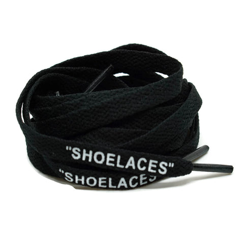 """SHOELACES"" Off White Inspired Flat Laces (LONG) - Black"