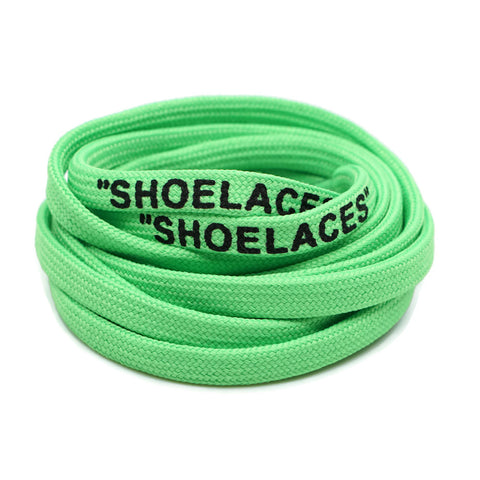 """SHOELACES"" Off White Inspired Flat Laces - Neon Green"