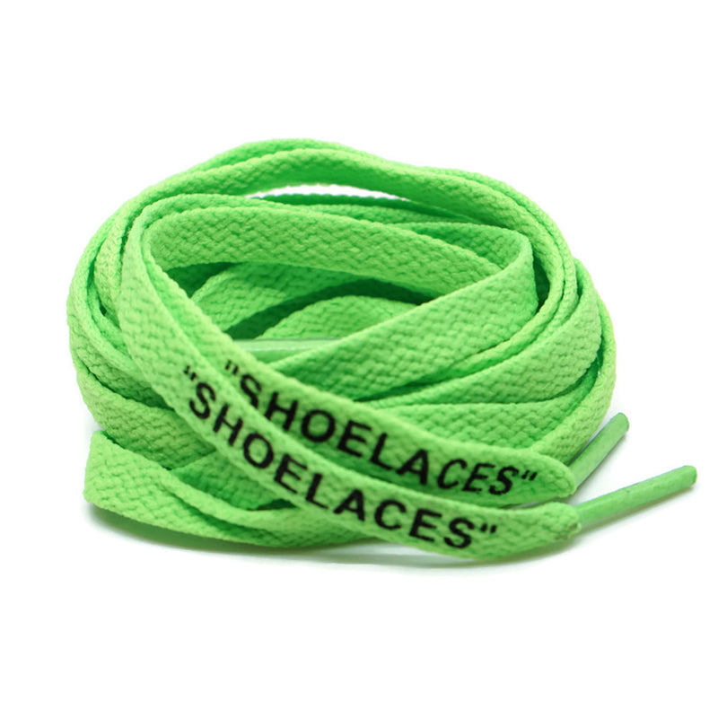 """SHOELACES"" Off White Inspired Flat Laces (LONG) - Neon Green"