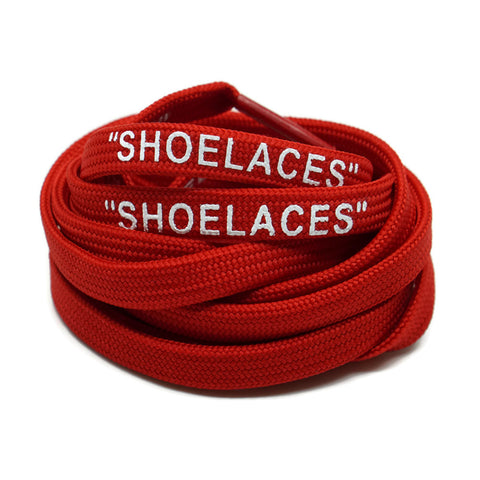 """SHOELACES"" Off White Inspired Flat Laces - Red"