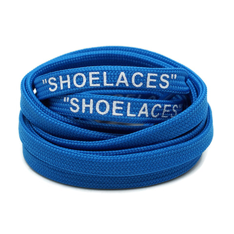 """SHOELACES"" Off White Inspired Flat Laces - Royal Blue"