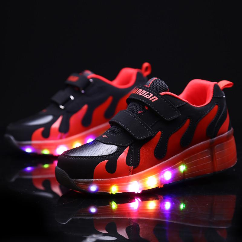 Shoes Reasonable Colorful Led Lights Light Luminous Fluorescent Shoes Couple Pure White Korean Version Of The Wave Of Men And Women Shoes Usb Rec Men's Casual Shoes