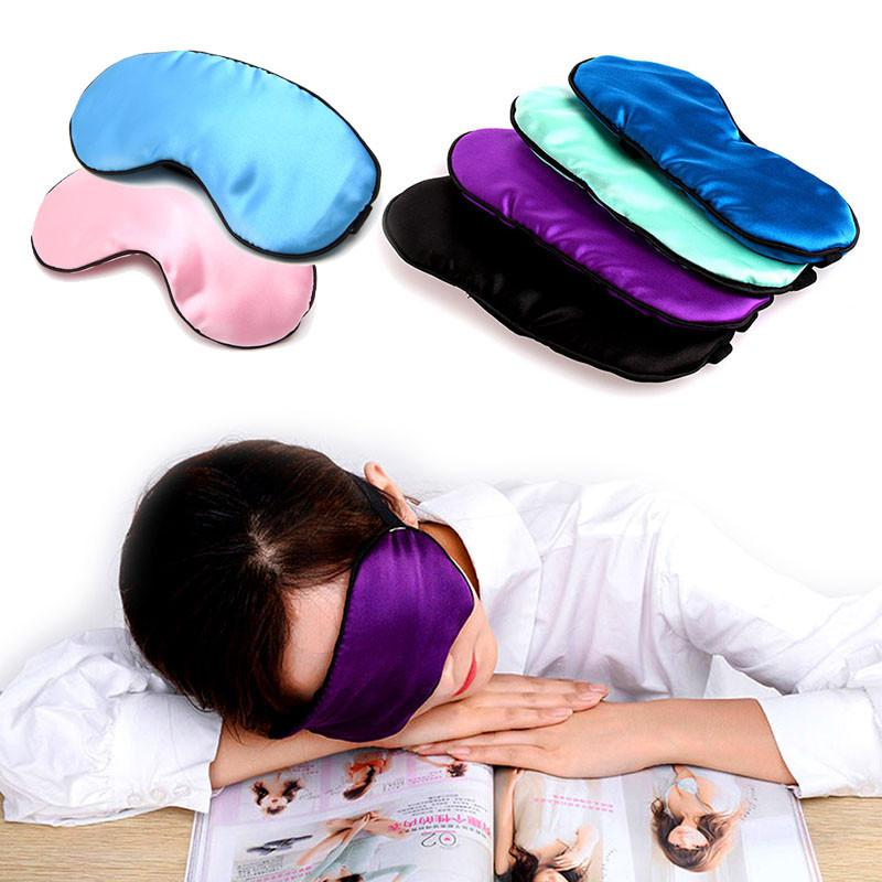 1PC New Pure Silk Sleep Eye Mask Padded Shade Cover Travel Relax Aid Blindfold 9 Colors - DealsBlast.com