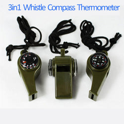 Whistle Compass Thermometer 3 in1 Survival Camping Outdoor Item