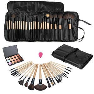 1Set MakeUp Brushes 15 Color Beauty Makeup Concealer Platte + 24pcs Pro Makeup Cosmetic Brushes + Sponge Puff Set - Deals Blast