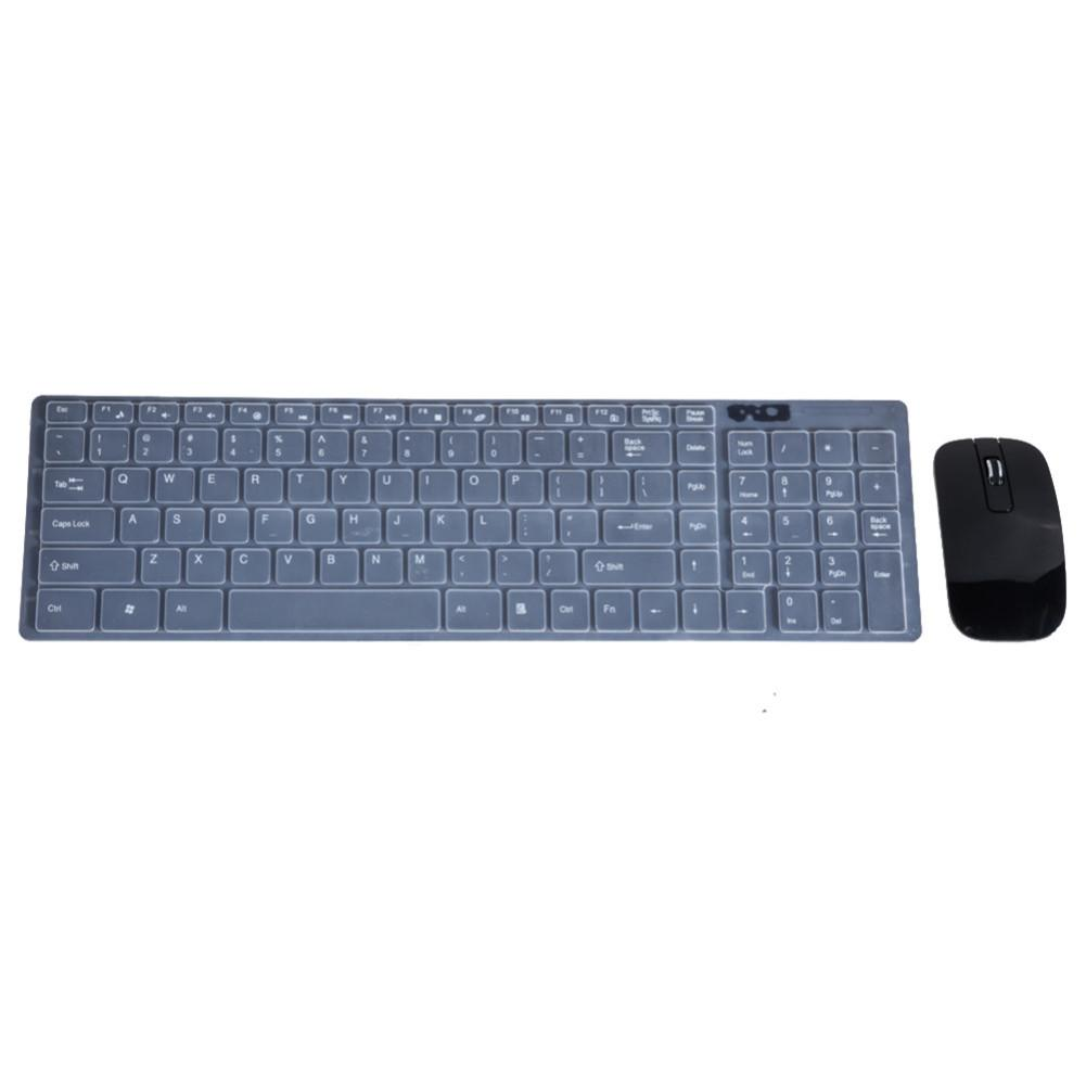 2.4GHz Ultra-thin Optical Wireless Keyboard and Mouse Combo Kit with USB Receiver and Keypad Film for PC Computer