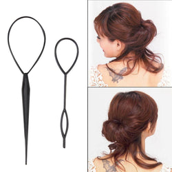 2 pcs Ponytail Creator Plastic Loop Styling Tools Black Topsy Pony topsy Tail Clip Hair Braid Maker Styling Tool  Fashio - Deals Blast