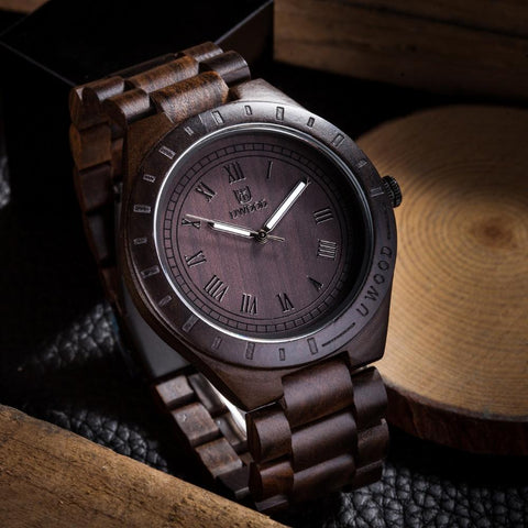 Hot Sell Men Dress Watch Quartz Mens Wooden Watch Wood Wrist Watches men Natural Calendar Display Bangle Gift Relogio