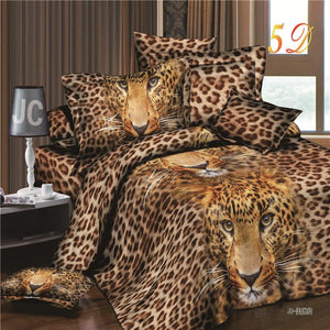 New Arrival 3d Bedding Sets Leopard Printed Queen Size 4Pcs Bedclothes Pillowcases Bed Sheet Duvet Cover Set. - Deals Blast