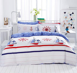 New Design 100% Cotton Sailing Boat Sea Style Bedding Set Queen Size Bedding Set Printed Bedsheet Pillowcase Duvet Cover - Deals Blast