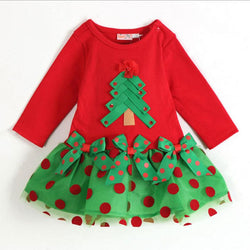 Girls Long Sleeve Christmas Dress Cotton Baby Tutu Dress - DealsBlast.com