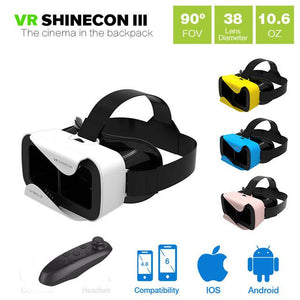 VR 3.0 VR BOX Virtual Reality 3D Glasses Headset Smartphone Game Movie + Bluetooth Controller - DealsBlast.com